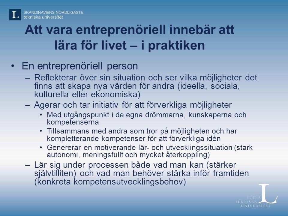 Att vara entreprenöriell innebär att lära för livet – i praktiken
