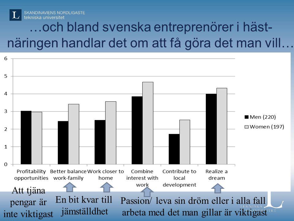 …och bland svenska entreprenörer i häst-näringen handlar det om att få göra det man vill…