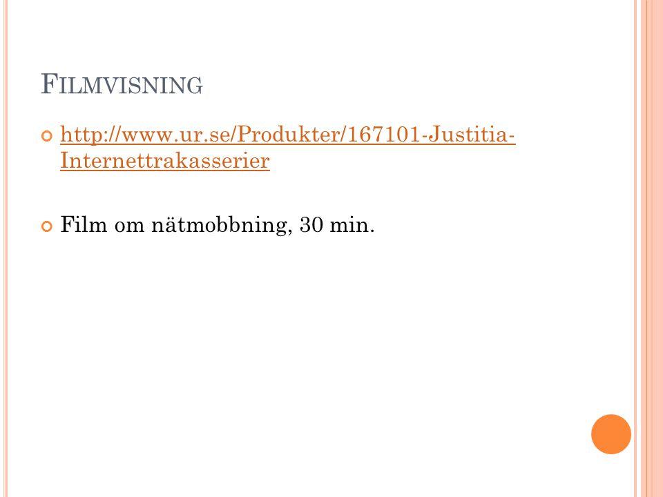 Filmvisning http://www.ur.se/Produkter/167101-Justitia- Internettrakasserier.