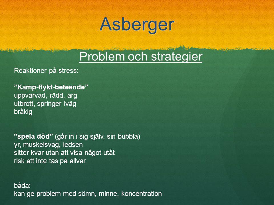 Asberger Problem och strategier Reaktioner på stress: