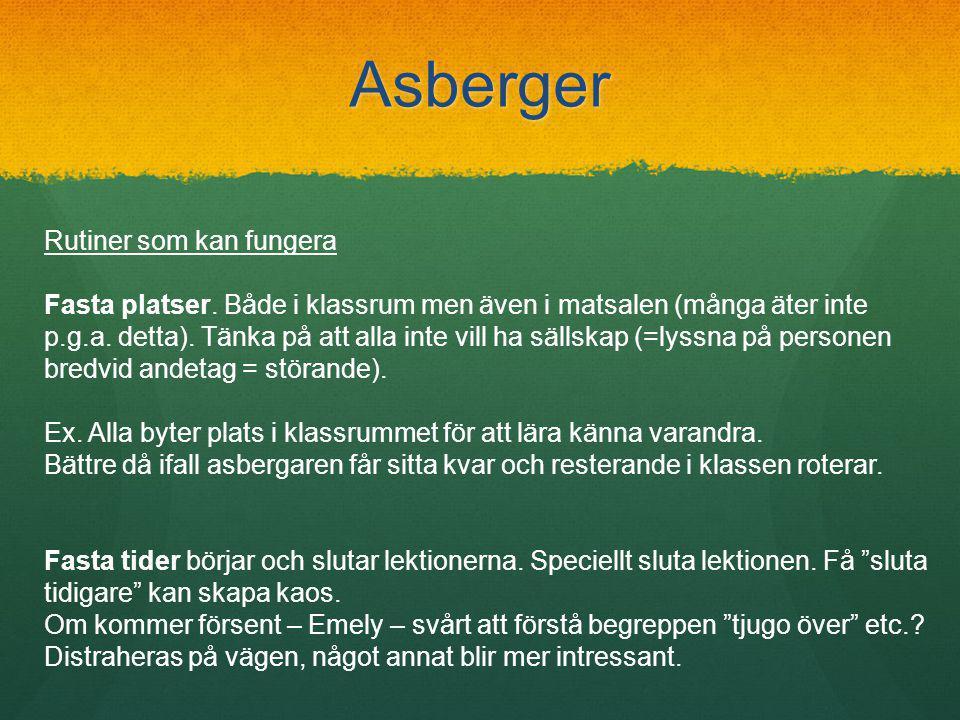 Asberger Rutiner som kan fungera