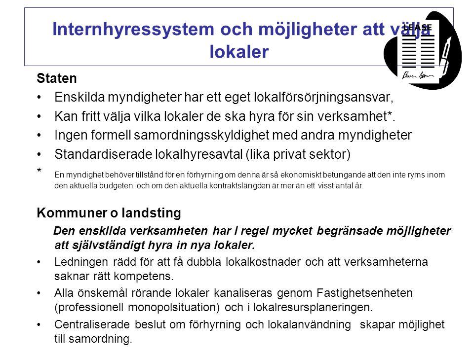 Internhyressystem och möjligheter att välja lokaler