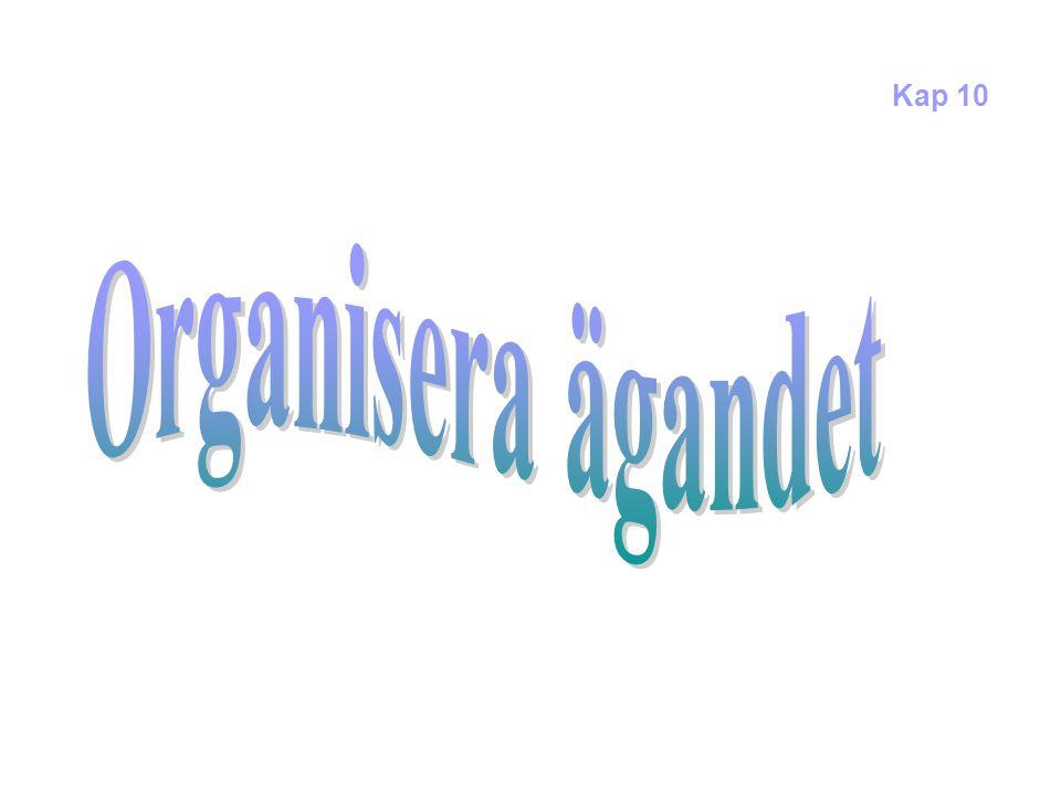 Kap 10 Organisera ägandet Exempel på hur man kan organisera ägandet 2