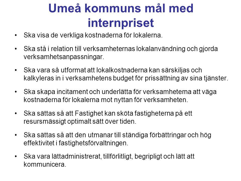 Umeå kommuns mål med internpriset