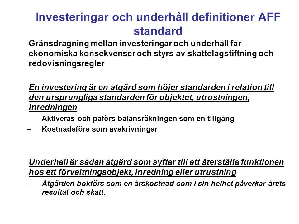 Investeringar och underhåll definitioner AFF standard
