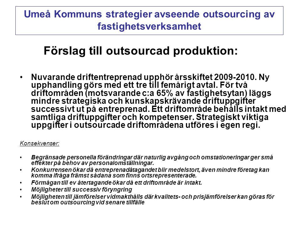 Förslag till outsourcad produktion: