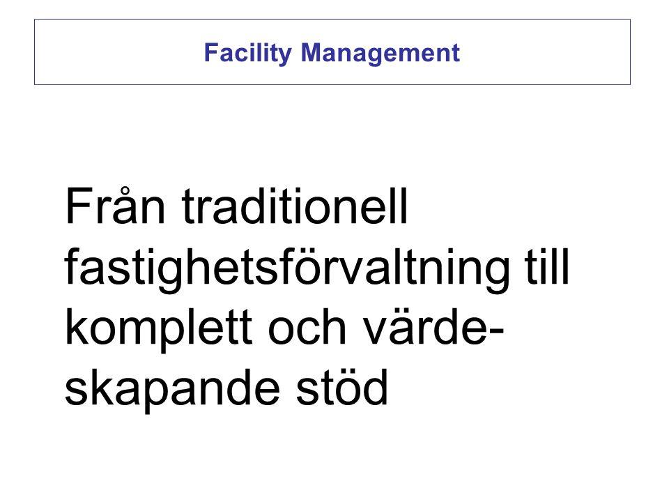 Facility Management Från traditionell fastighetsförvaltning till komplett och värde-skapande stöd.