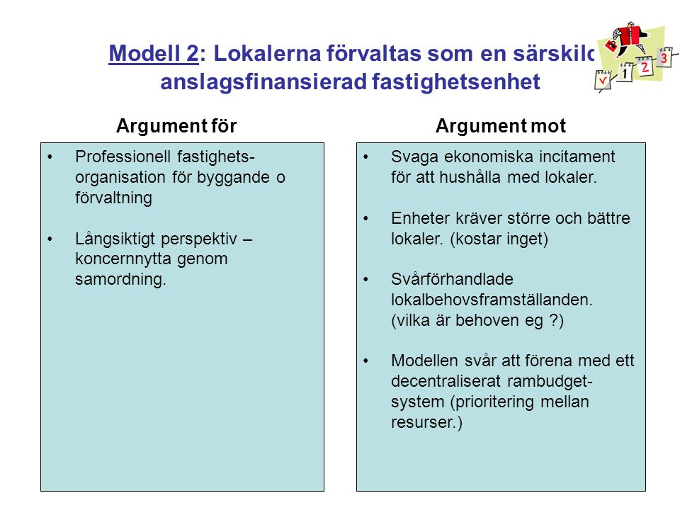 Modell 2: Lokalerna förvaltas som en särskild anslagsfinansierad fastighetsenhet
