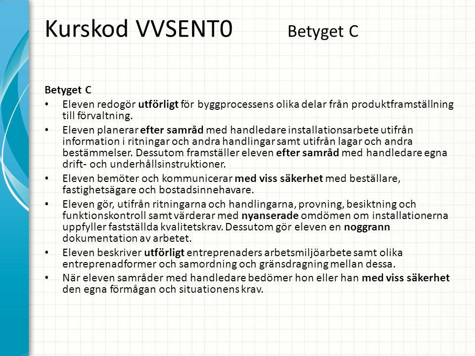 Kurskod VVSENT0 Betyget C