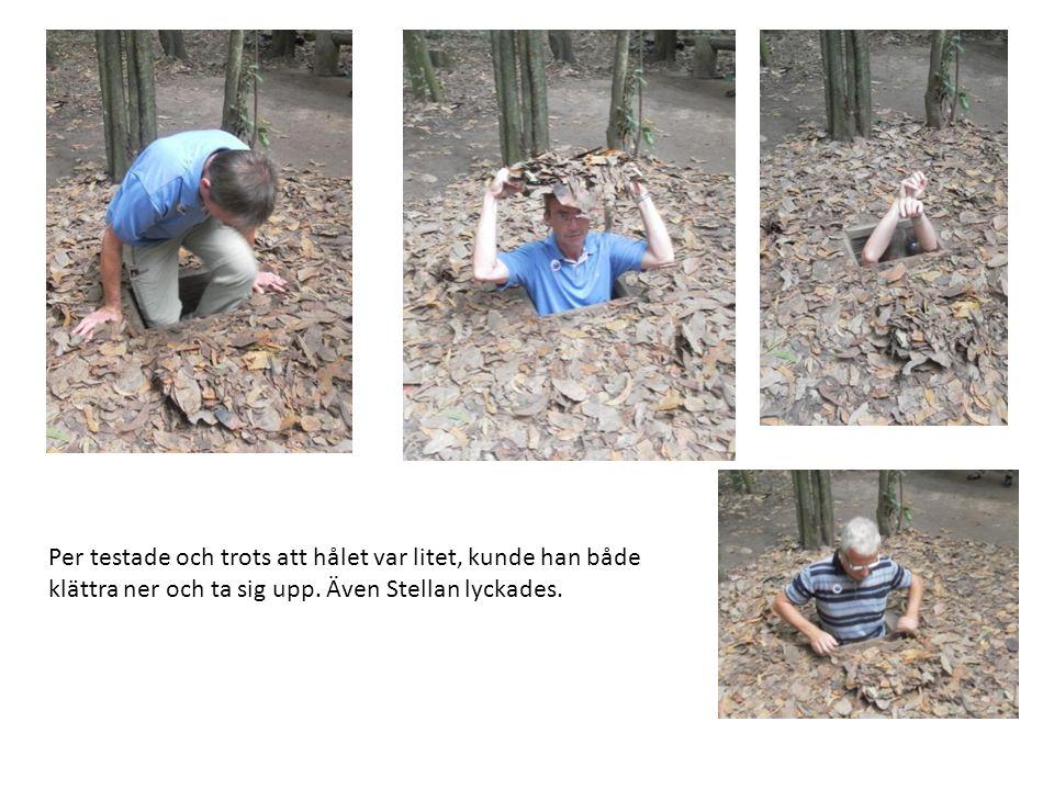 Per testade och trots att hålet var litet, kunde han både klättra ner och ta sig upp.