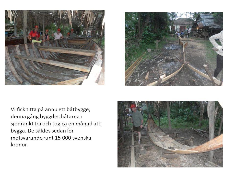 Vi fick titta på ännu ett båtbygge, denna gång byggdes båtarna i sjödränkt trä och tog ca en månad att bygga.