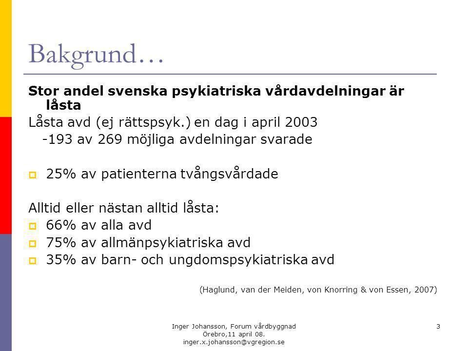 Bakgrund… Stor andel svenska psykiatriska vårdavdelningar är låsta
