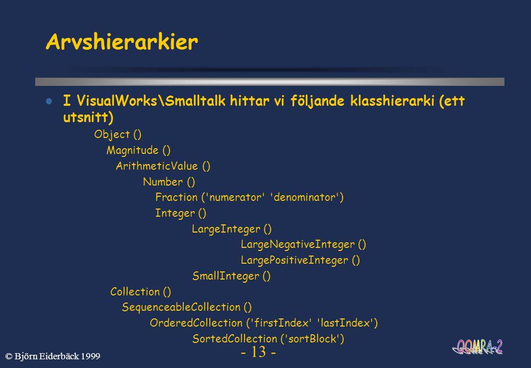 Arvshierarkier I VisualWorks\Smalltalk hittar vi följande klasshierarki (ett utsnitt) Object () Magnitude ()