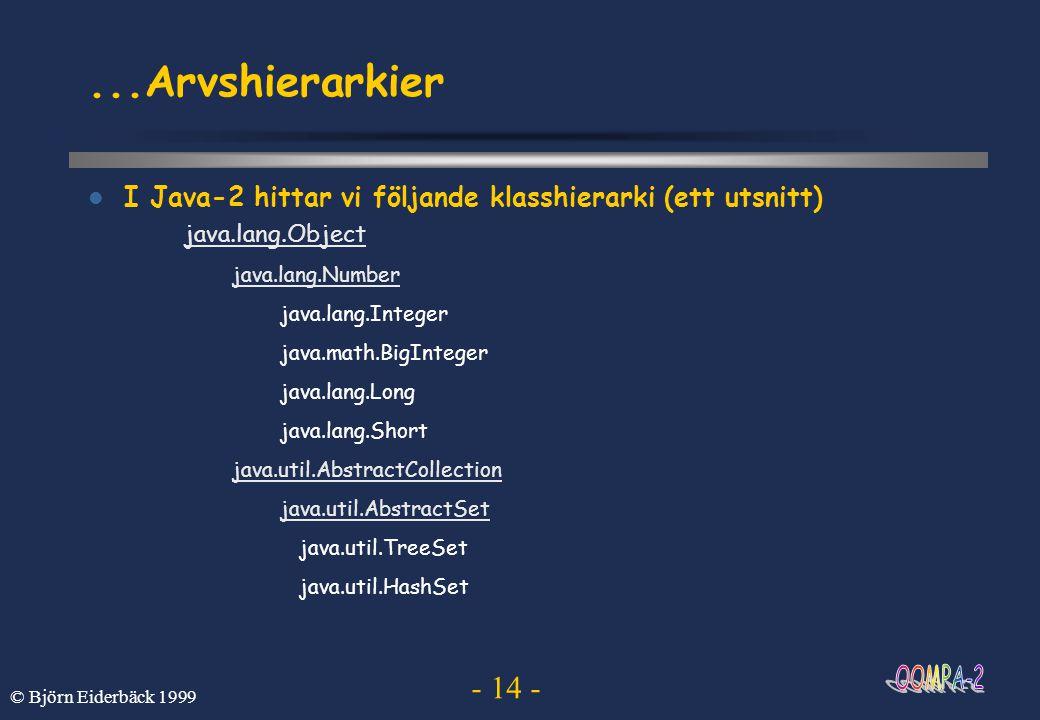 ...Arvshierarkier I Java-2 hittar vi följande klasshierarki (ett utsnitt) java.lang.Object. java.lang.Number.