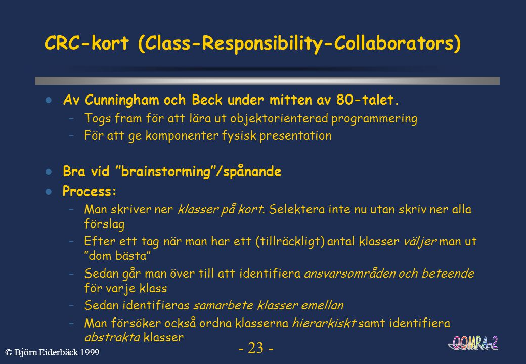 CRC-kort (Class-Responsibility-Collaborators)
