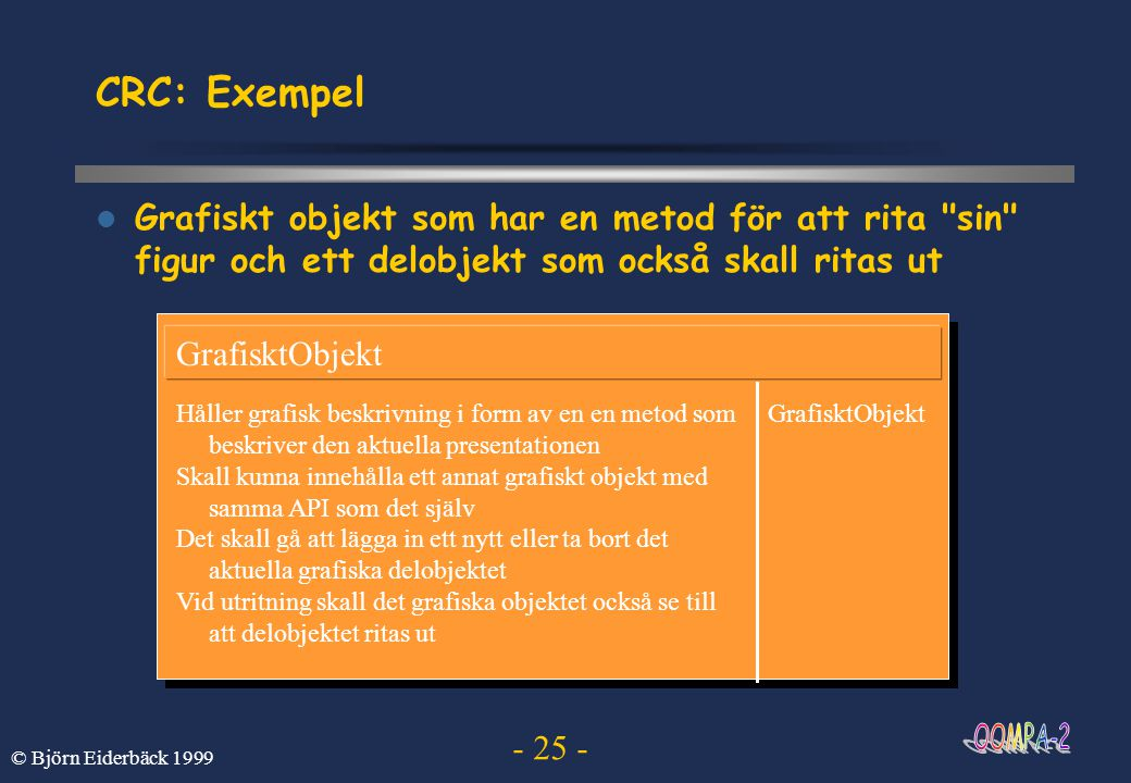 CRC: Exempel Grafiskt objekt som har en metod för att rita sin figur och ett delobjekt som också skall ritas ut.