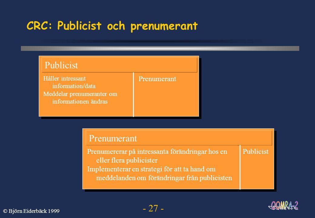 CRC: Publicist och prenumerant