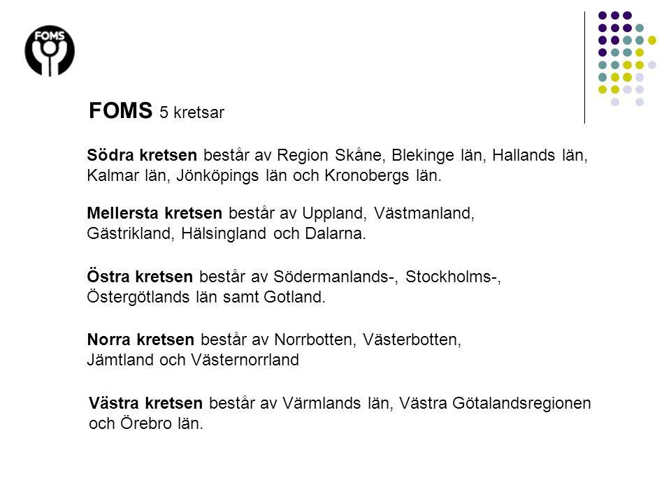 FOMS 5 kretsar Södra kretsen består av Region Skåne, Blekinge län, Hallands län, Kalmar län, Jönköpings län och Kronobergs län.