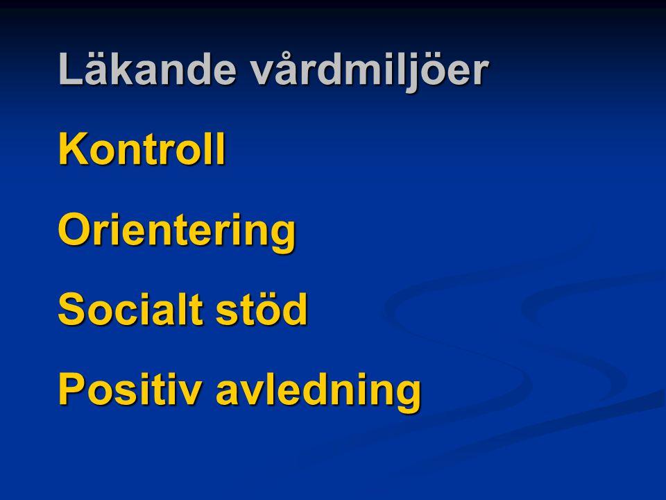 Läkande vårdmiljöer Kontroll Orientering Socialt stöd Positiv avledning