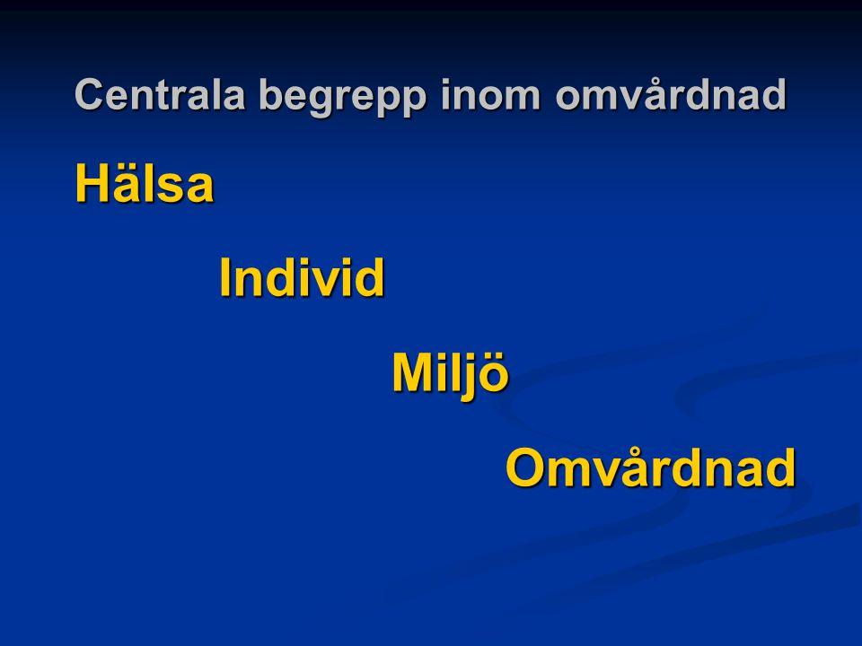 Centrala begrepp inom omvårdnad