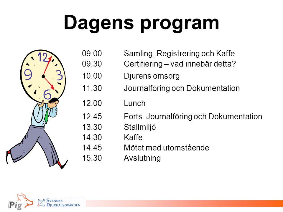 Dagens program 09.00 Samling, Registrering och Kaffe