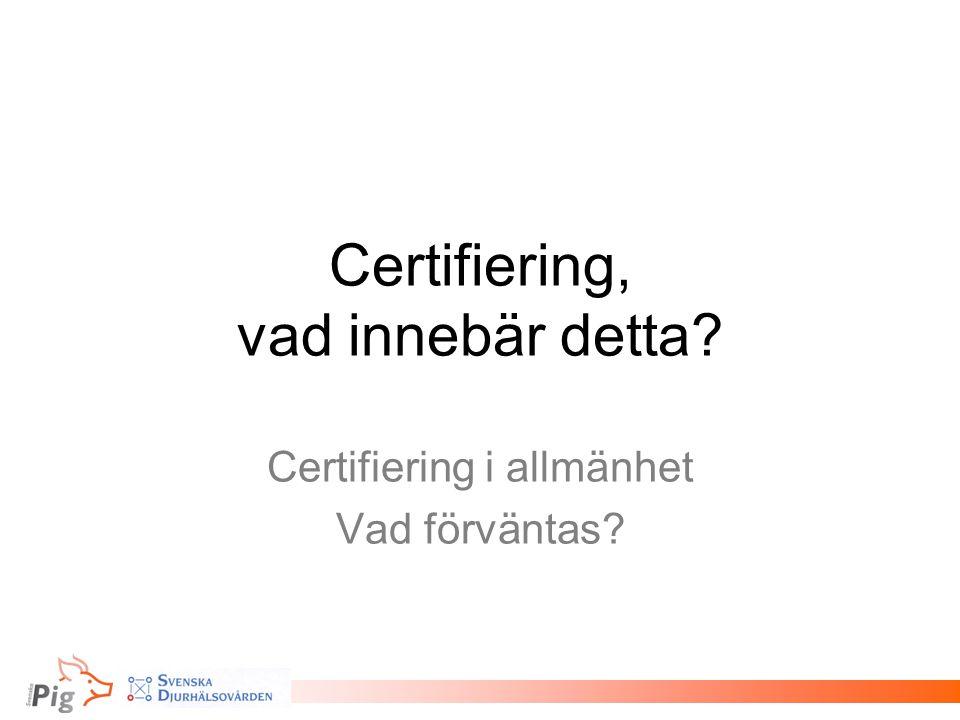 Certifiering, vad innebär detta