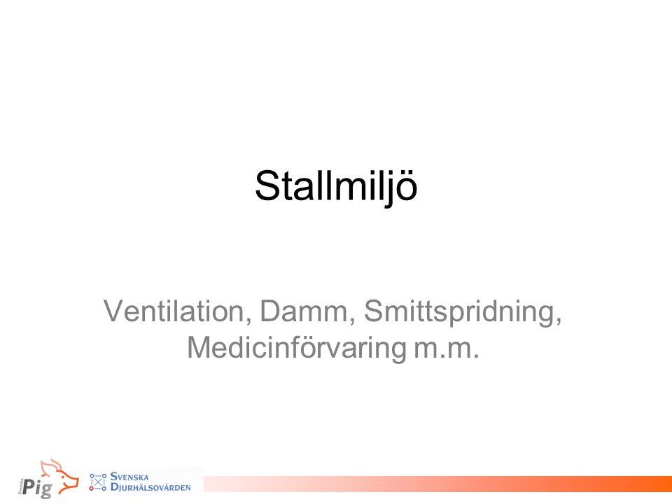 Ventilation, Damm, Smittspridning, Medicinförvaring m.m.