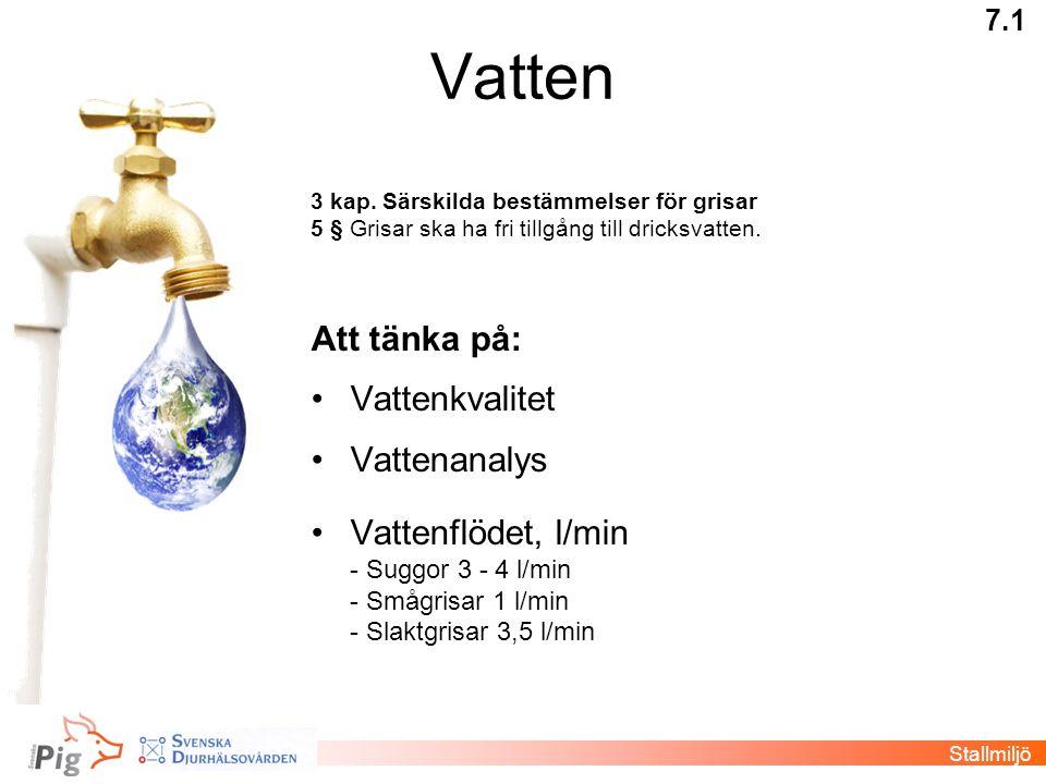 Vatten Att tänka på: Vattenkvalitet Vattenanalys