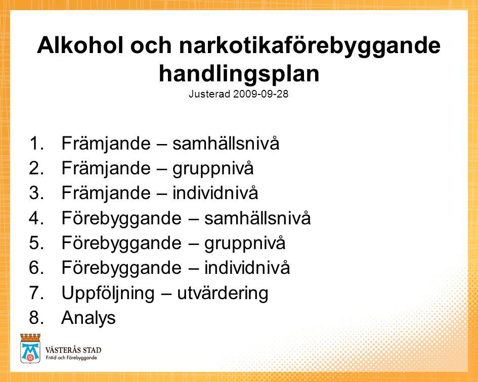 Alkohol och narkotikaförebyggande handlingsplan Justerad 2009-09-28