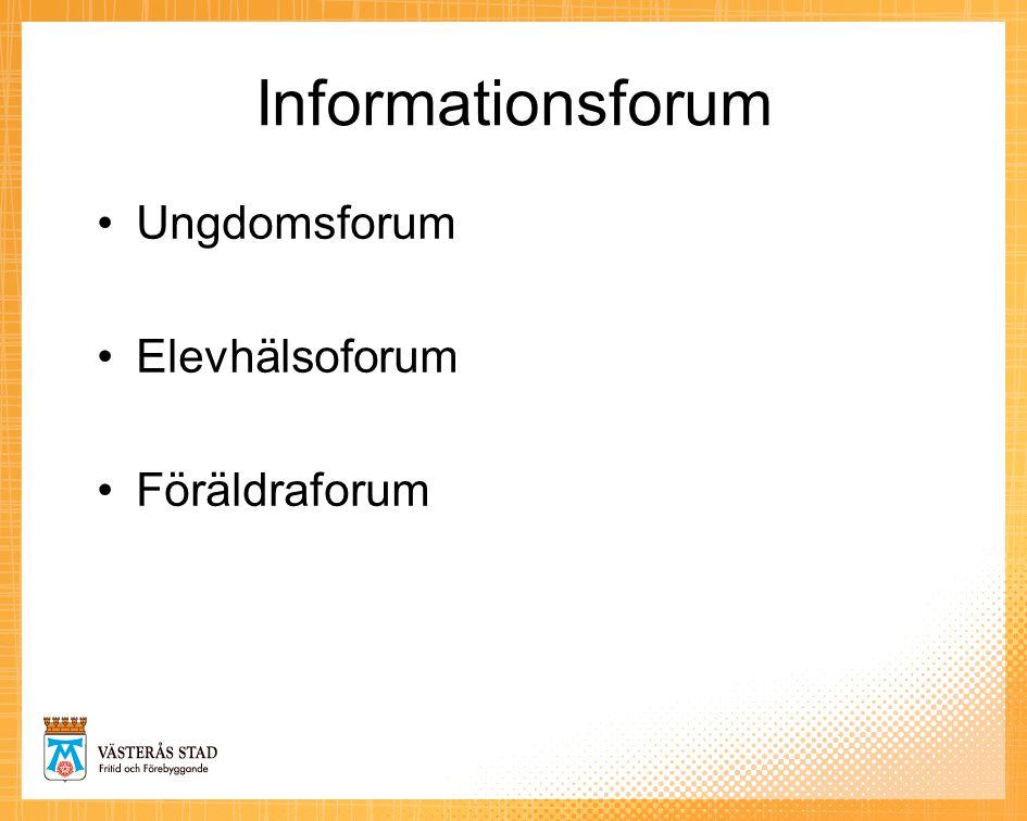 Informationsforum Ungdomsforum Elevhälsoforum Föräldraforum