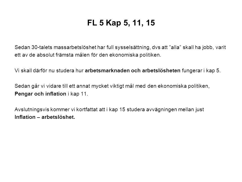 FL 5 Kap 5, 11, 15 Sedan 30-talets massarbetslöshet har full sysselsättning, dvs att alla skall ha jobb, varit.