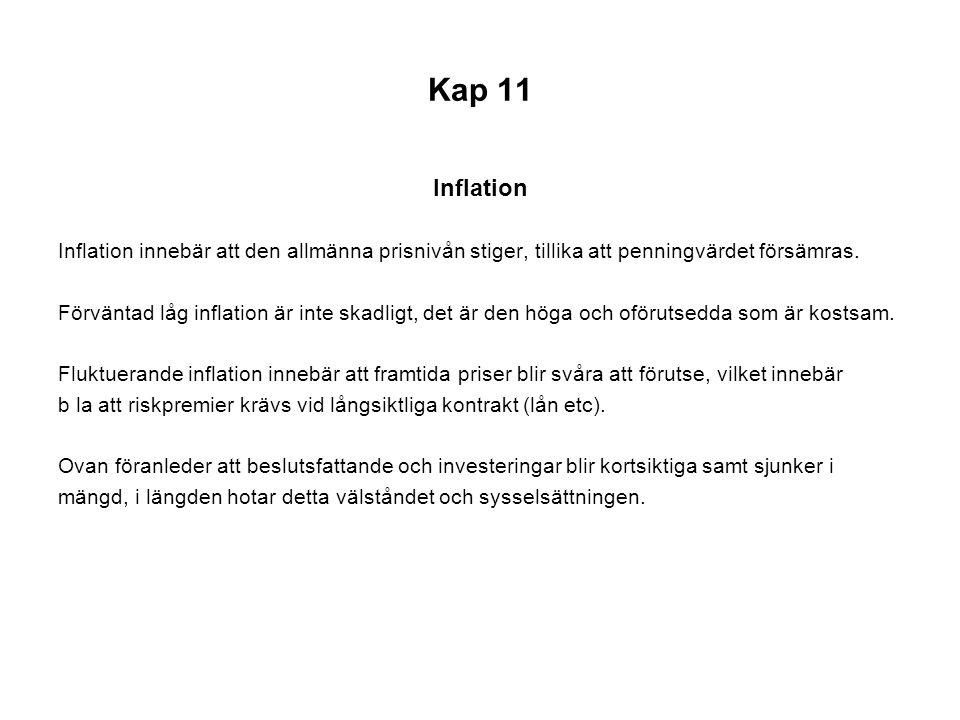 Kap 11 Inflation. Inflation innebär att den allmänna prisnivån stiger, tillika att penningvärdet försämras.