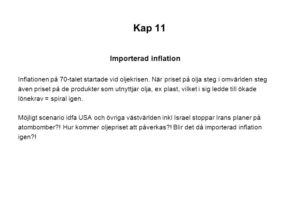 Kap 11 Importerad inflation