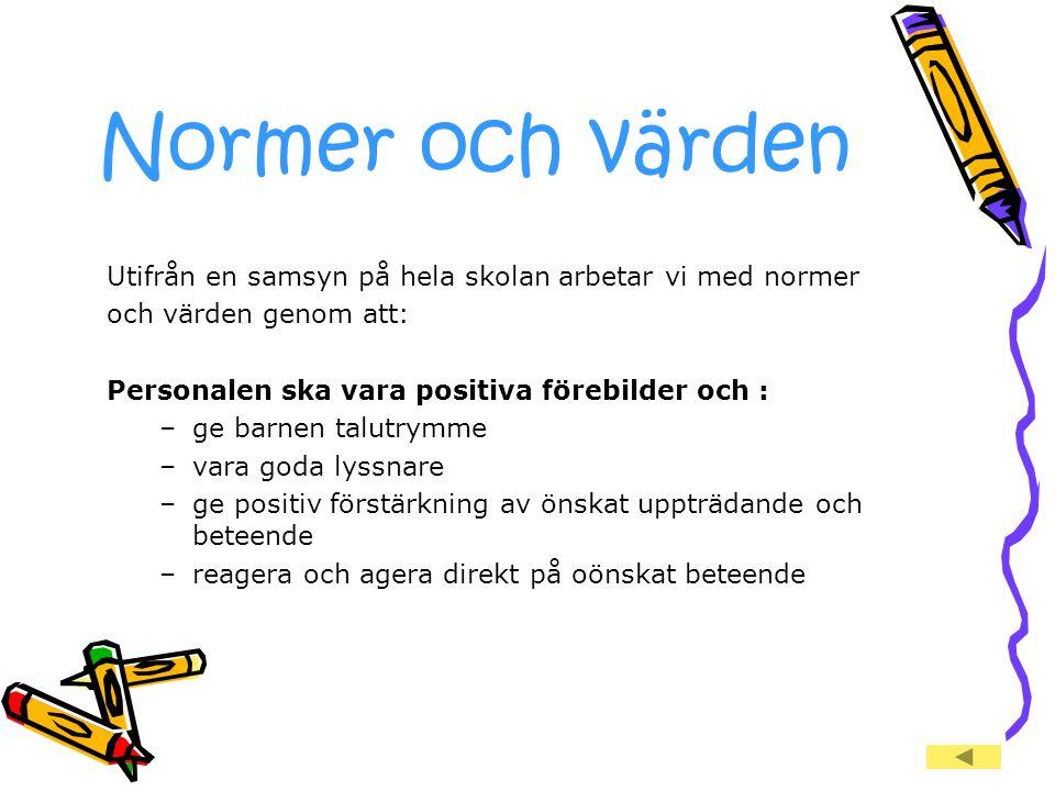 Normer och värden Utifrån en samsyn på hela skolan arbetar vi med normer. och värden genom att: Personalen ska vara positiva förebilder och :