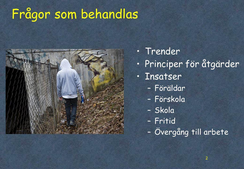 Frågor som behandlas Trender Principer för åtgärder Insatser Föräldar