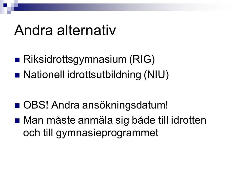 Andra alternativ Riksidrottsgymnasium (RIG)
