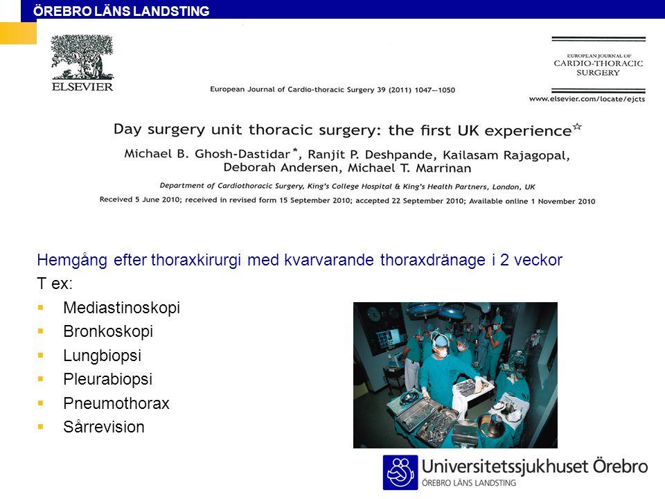 Hemgång efter thoraxkirurgi med kvarvarande thoraxdränage i 2 veckor