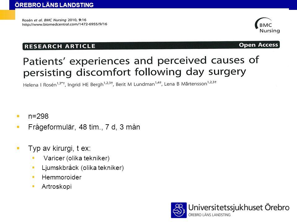 Frågeformulär, 48 tim., 7 d, 3 mån Typ av kirurgi, t ex: