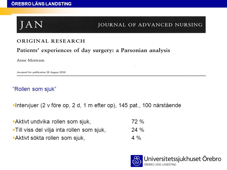 Rollen som sjuk Intervjuer (2 v före op, 2 d, 1 m efter op), 145 pat., 100 närstående. Aktivt undvika rollen som sjuk, 72 %