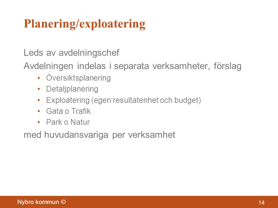 Planering/exploatering