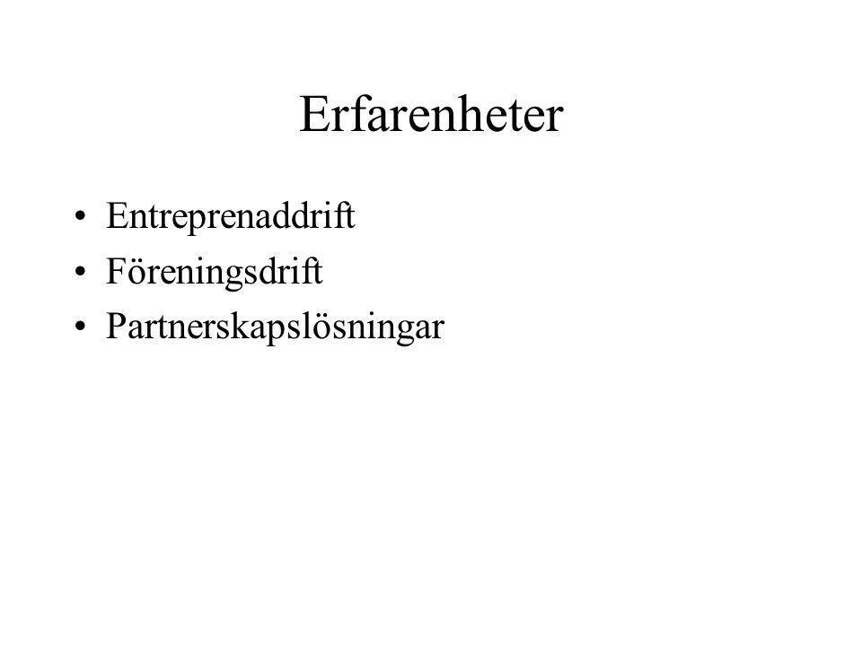 Erfarenheter Entreprenaddrift Föreningsdrift Partnerskapslösningar