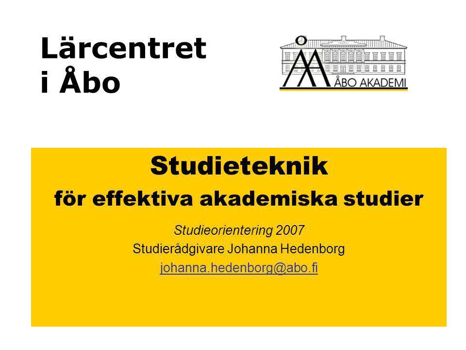 Lärcentret i Åbo Studieteknik för effektiva akademiska studier