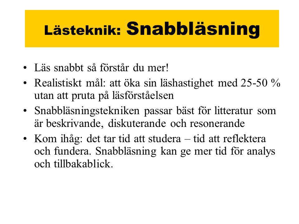 Lästeknik: Snabbläsning