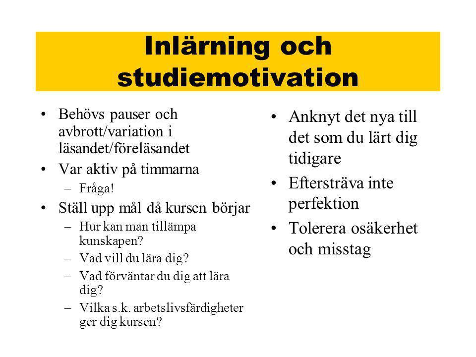 Inlärning och studiemotivation
