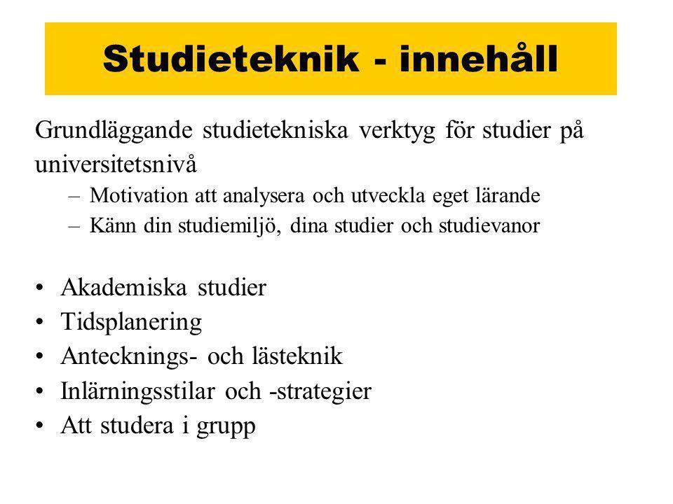 Studieteknik - innehåll