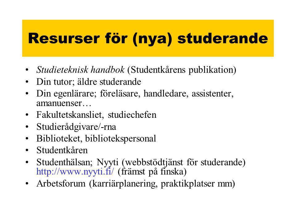 Resurser för (nya) studerande