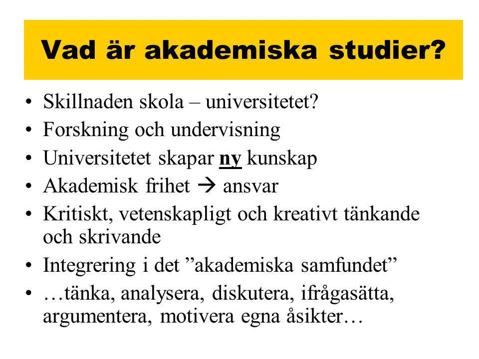 Vad är akademiska studier