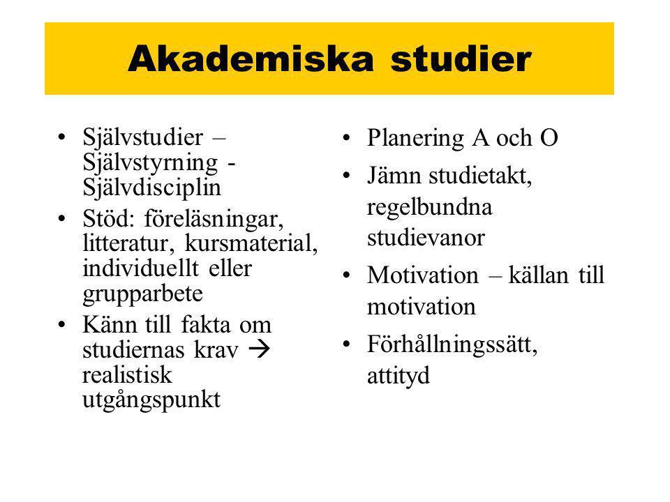 Akademiska studier Planering A och O