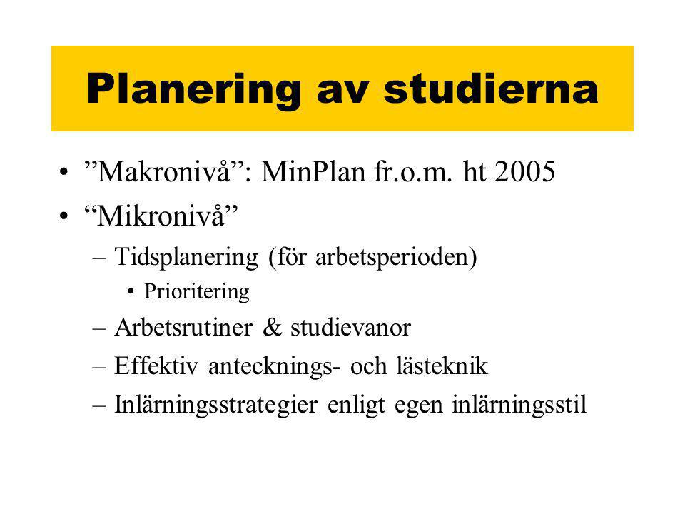 Planering av studierna