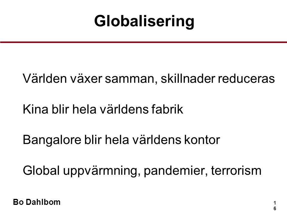 Globalisering Världen växer samman, skillnader reduceras